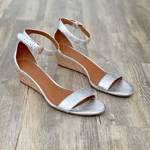 Tory Burch Silver Ankle Strap Low Wedge Sandal 8.5